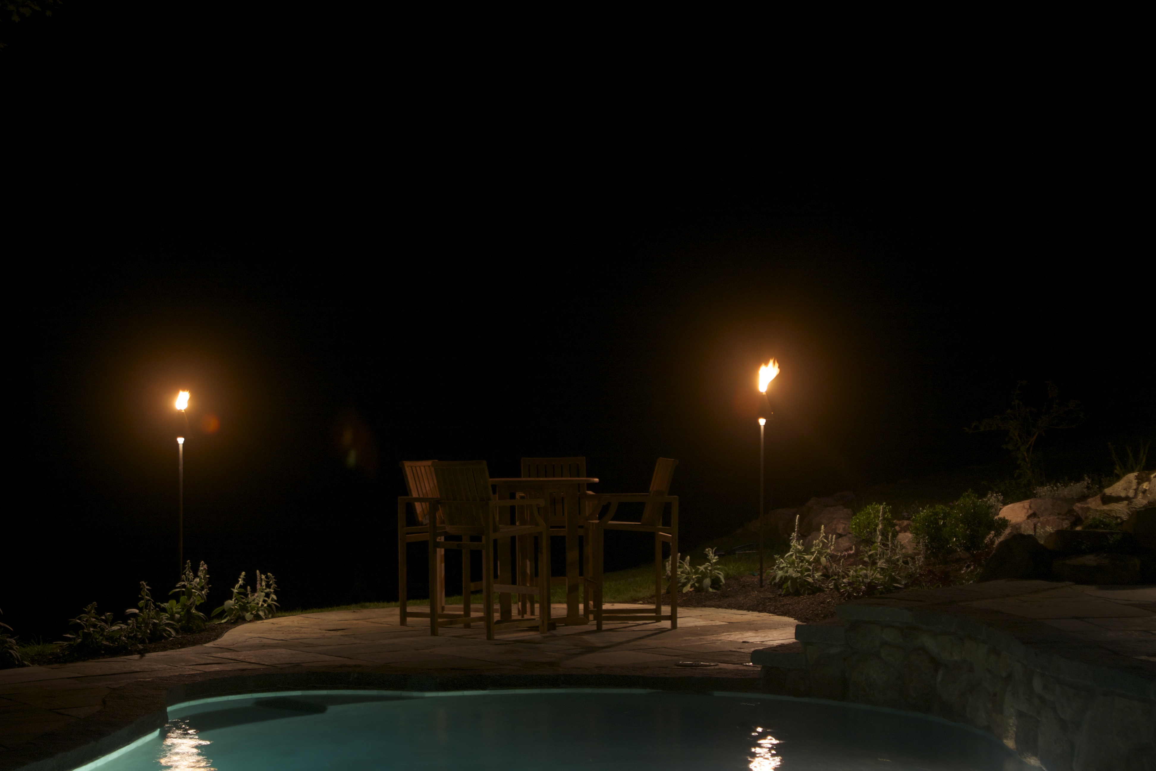 Intimate patio lighting